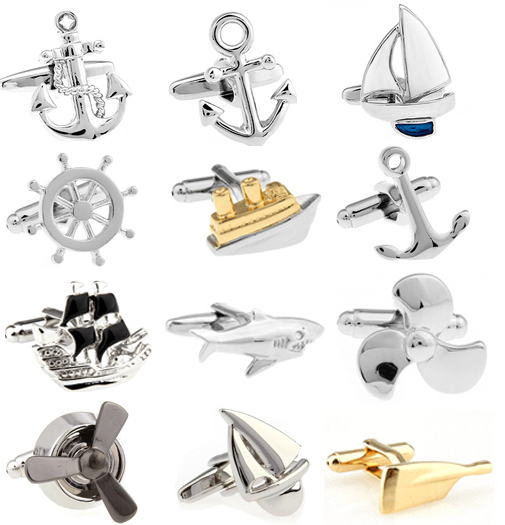Free Shipping Cufflinks Retail Novelty Sail Design Blue White Color Sport Series Cufflinks For Men Cuff Links Wholesale&retail(China (Mainland))