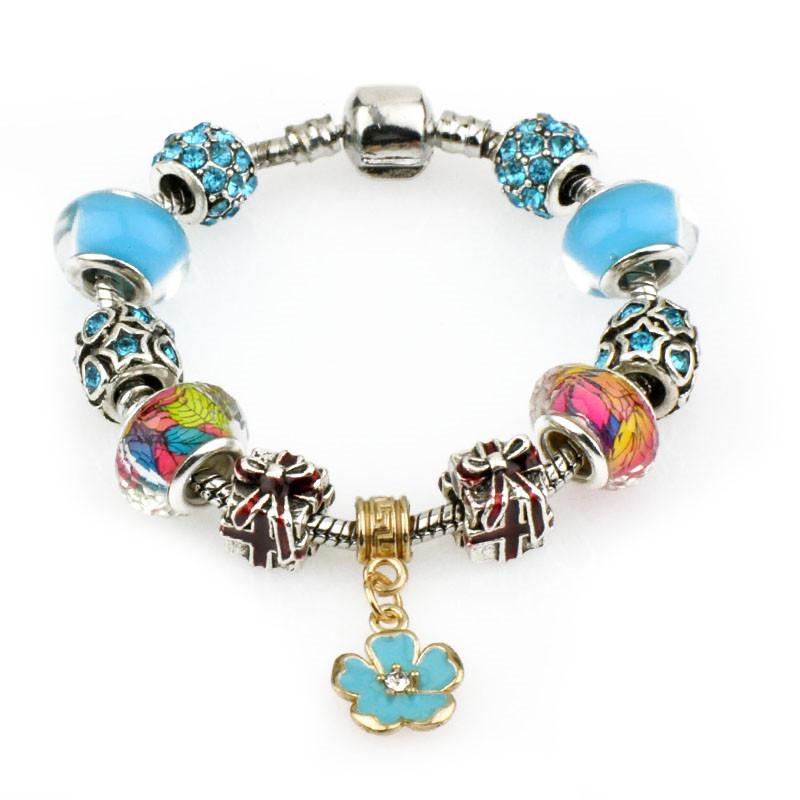 Jewdy European Fine Flower Charm BEADS Bracelets For Women 925 Sterling Silver Jewelry Bracelets & Bangles DIY Jewelry Pulseras(China (Mainland))