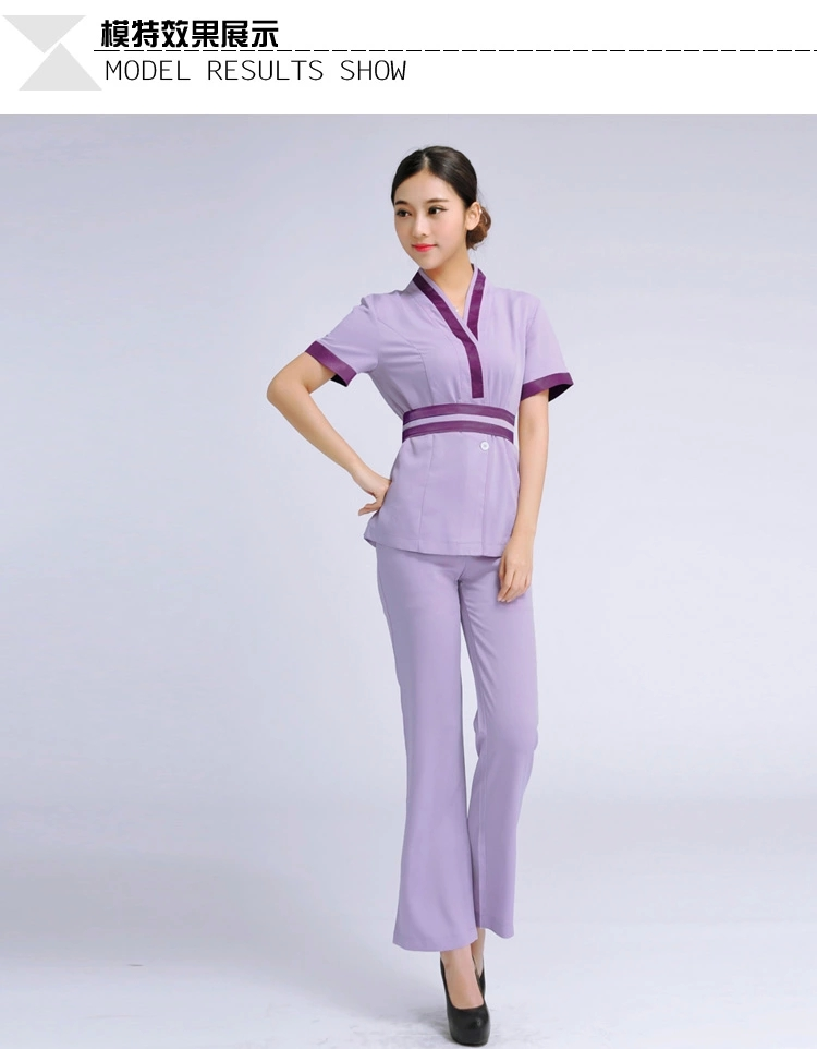 2015 Hot Sprin Style Massage Technicians Workwear Elegant Beautician Uniform with high quality  Summer Style