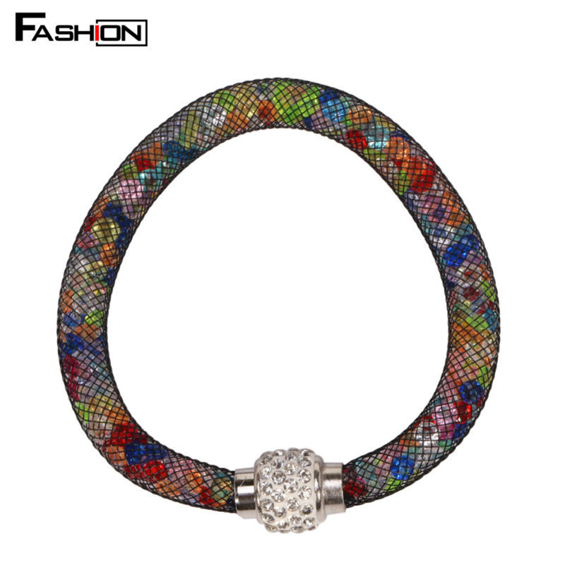 Hot Sale Mesh Double Stardust Bracelets With Crystal stones Filled Magnetic Clasp Charm Bracelets Bangles(China (Mainland))
