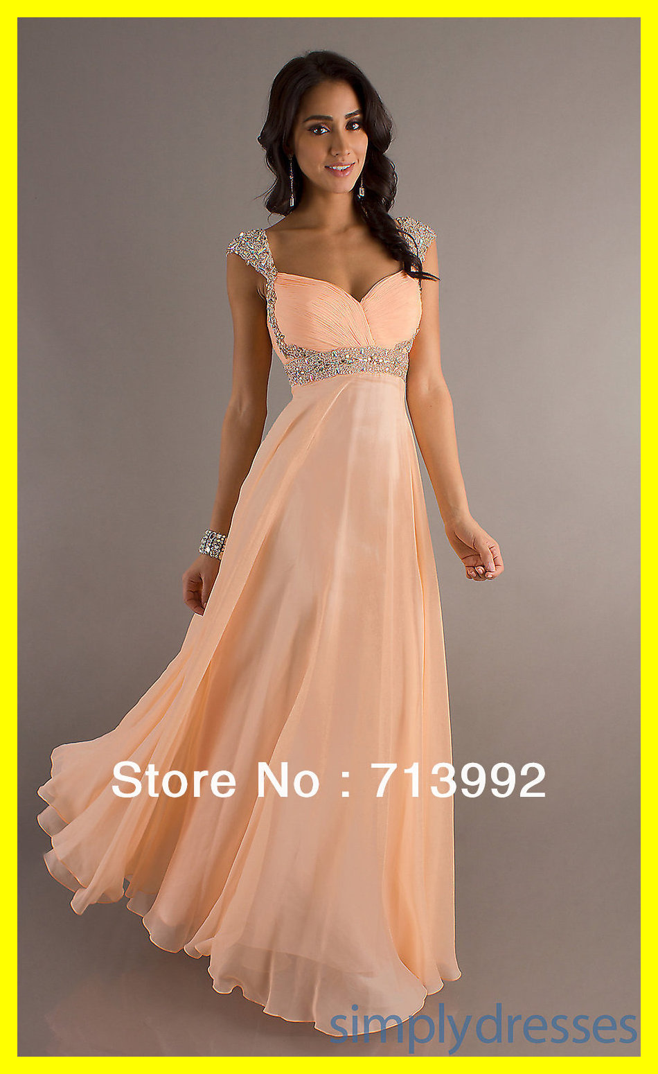Fashion Prom Dresses Western Plus Size On Sale Montreal A-Line Floor-Length Court Train Built-In Bra Crystal V-N 2015 Wholesale(China (Mainland))