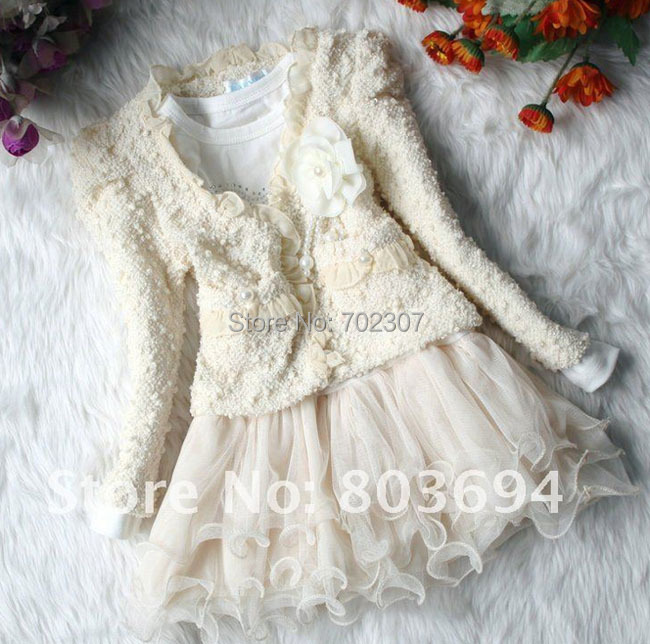 Free shipping 2015 Autumn and winter baby girl Two-piece dress lace flower 2pcs sets children girl dress T-set<br><br>Aliexpress