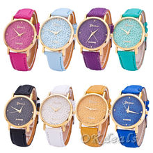 New Simple Style Women Casual Wristwatch 2015 Fashion Snowflake Leather Quartz Watch Ladies Dress Watch Relogio Feminino Clock