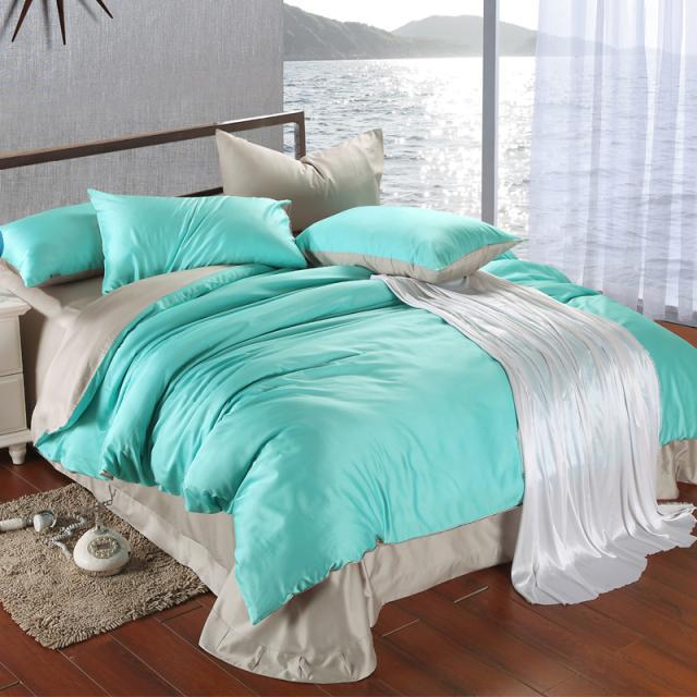 Grey Double Bed Covers : Luxury blue grey tencel bedding set king size duvet cover
