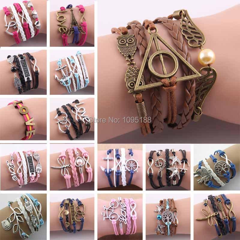 summer style Fashion Bird Tree Owls Infinity Anchors Rudder Rope Bracelets for women Wrap Leather Multilayer bracelets bangles(China (Mainland))