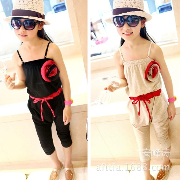 Free shipping 2015 Hot sell Kids summer flower children overalls cotton 3-8 years old girls overalls piece pants children pants(China (Mainland))