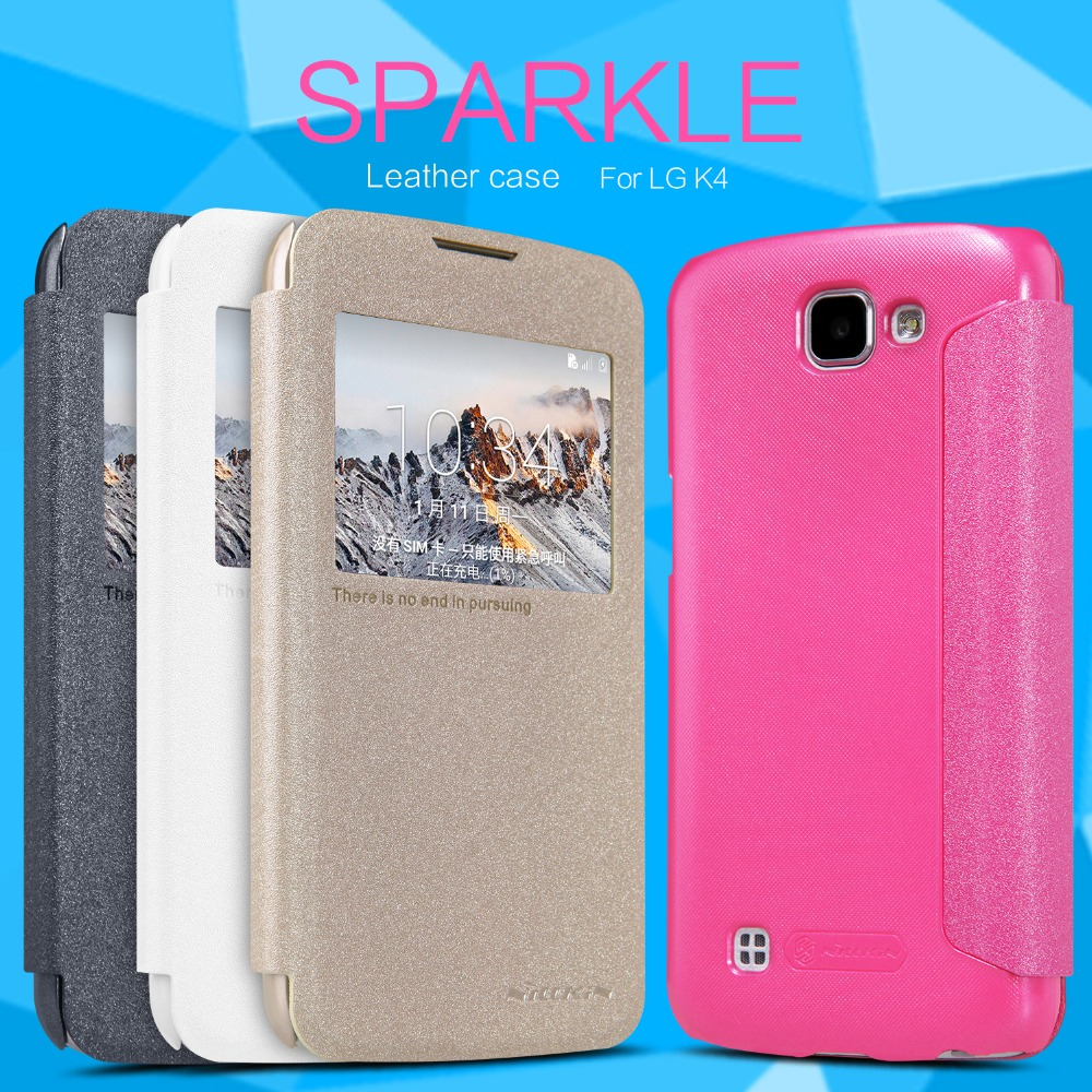 NILLKIN NEW Sparkle Leather Case For LG K4 4.5Inch Pearly Colorful Cover Cases With LCD Screen Protector and Retail Package(China (Mainland))
