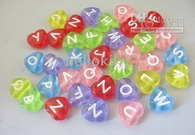 3450 Mixed colour heart alphabet beads#18699<br><br>Aliexpress