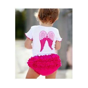 Free Shipping  2pcs Baby Girl Infant Toddlers Kids Children Newborn Angel White Pink Top+Ruffle Pants Shorts Set Clothes Outfit