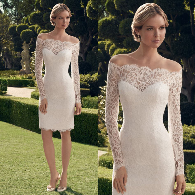 2017 Lace Short Wedding Dresses New Arrival Elegant Knee Length Wedding Dresses Bridal Gowns With Long Sleeves(China (Mainland))