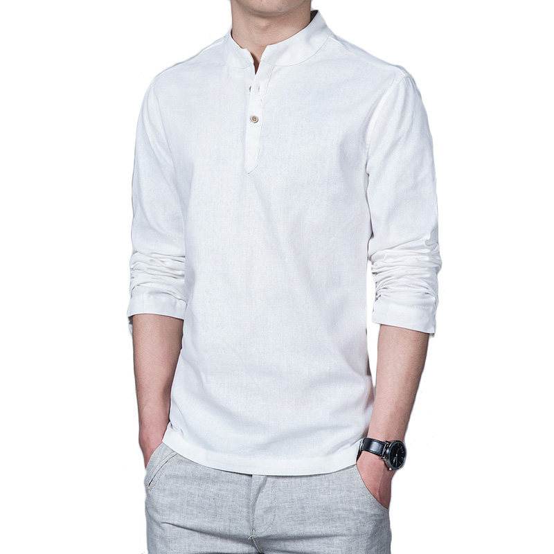 Online buy wholesale banded collar shirt from china banded for Linen long sleeve shirt