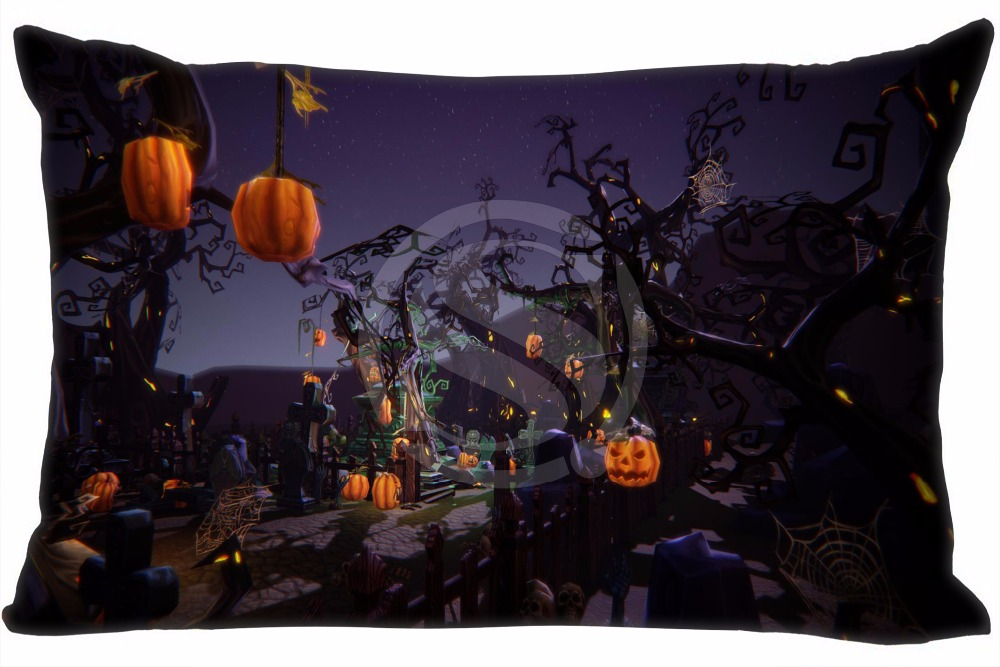 H#P-482 Custom Rectangle Zippered Pillow Case High Halloween#73 Pillowcases 35x45cm (One Side) SQ00820-@H0482