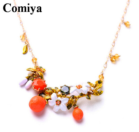 Boho chic fashion jewelry green leaves and orange flowers design necklaces cute bohemian beach girl bijoux necklace for women(China (Mainland))