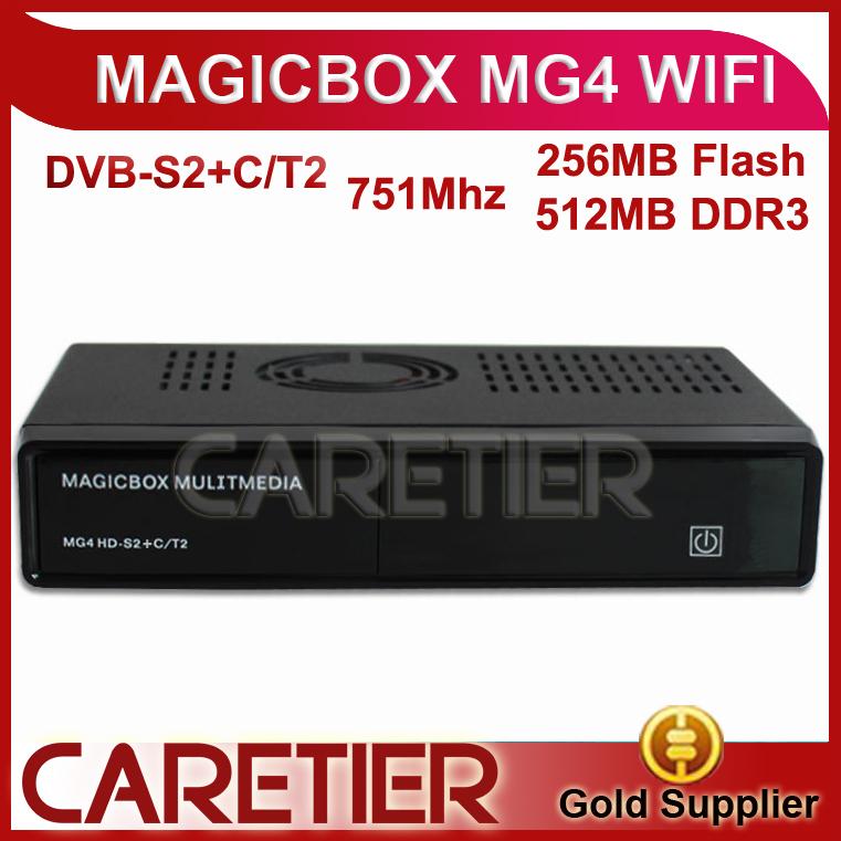 4pcs MAGIC BOX MG4 HD DVB-S2/T2/C Tuner 751MHZ MIPS Processor 256MB Flash/512MB DDR3 MAGICBOX MG4 by fedex free shipping(China (Mainland))
