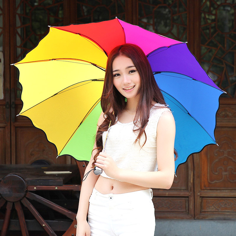 Fashion Rainbow Umbrella Three Folding Umbrella Uv Protection Women Girl Sunny Umbrella Unique Design Colorful(China (Mainland))