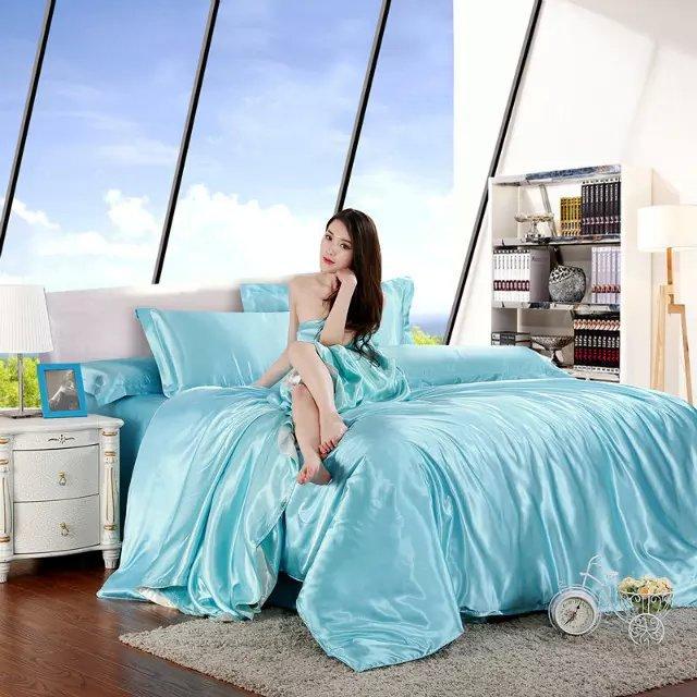 4pcs queen tencel bed set bedding set New arrived water blue summer style bed linen set duvet cover + flat sheet+two pillowcase(China (Mainland))