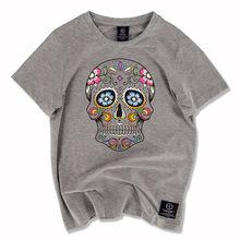 Men Brand Clothing 2016 Fashion Skulls Print Hip Hop T Shirt Men's Short Sleeve Slim Casual Tees Men Streetwear T-shirt 3XL Tops