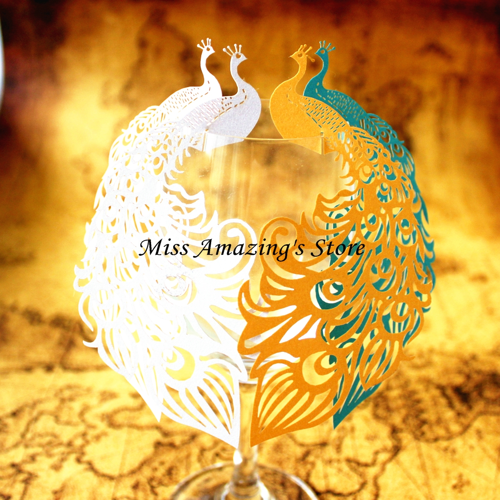 50pcs Peacock Laser Cut Wine Glass Card Name Place Escort Cup Cards Wedding Baby Shower Birthday Party Christmas Decorations(China (Mainland))