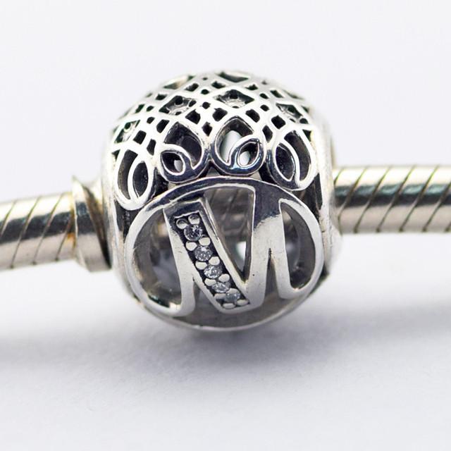 Серебро 925 2016 весна ювелирные изделия письмо м бусины подходит браслет европейский алфавит натуральный камень бусины для ювелирных изделий