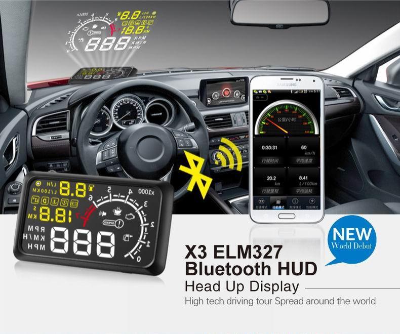Hot Sale 5.5 inch Screen Car HUD Head Up Display Car Styling Speeding Warning System 12V OBD II OBD2 Interface KM/H X3(China (Mainland))