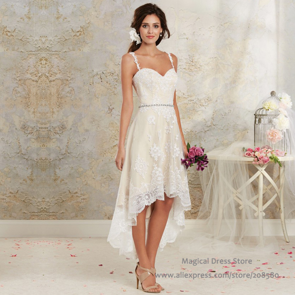 Buy bohemian high low short wedding dress for Summer dresses for wedding