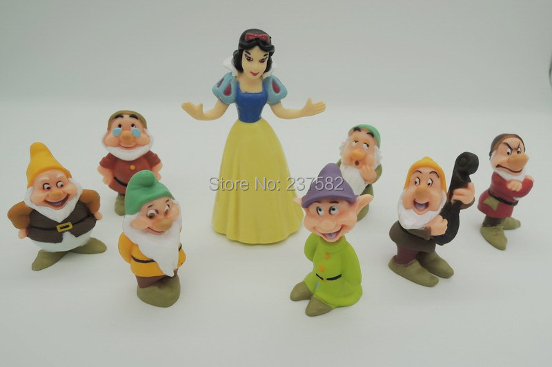 Anime Seven Dwarfs figures Snow White Doll Princess Model Toys 8pcs/lot 8cm(China (Mainland))