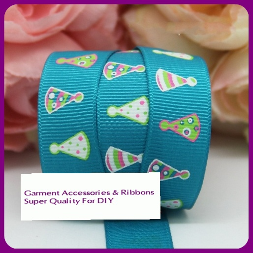 "2013 New 5/8"" 16mm discounts 100y Free shipping gift packing blue printed grosgrain ribbon bow diy party decoration wholesale(China (Mainland))"