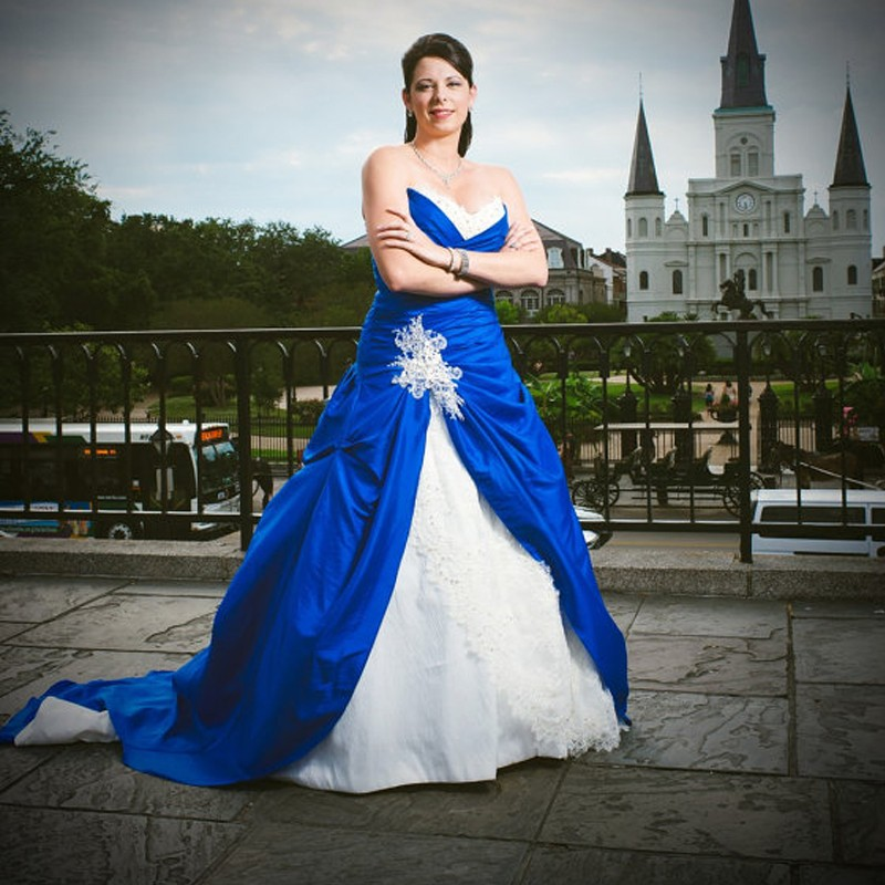 2016 High Quality Sweetheart Plus Size Royal Blue And White Wedding Dresses With Lace Applique Ball Gown Custom Made LD216(China (Mainland))