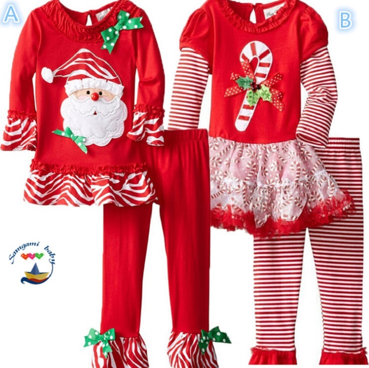 Retail girls thanksgiving outfits christmas costume girls sets cotton red Santa print mesh t shirt + striped pants girls clothes(China (Mainland))