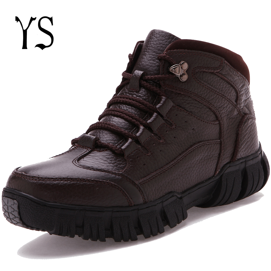 Y-s 2016 Winter Flat Premium Fur Lined Round Toe Boots Mens Warm Utility Fashion Botines Mans Comfort Insulated Lace Shoes