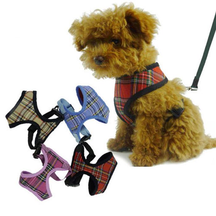 1x Adjustable Soft Mesh Fabric Padded Dog Harness Tartan Puppy Pet Lead Leash Pet Product Supplies Free Shipping(China (Mainland))