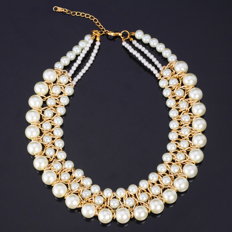 Choker Necklace Jewelry For Women Vintage Elegant Bride Jewelry With Gift Box White Pearl Bead Rhinestone Brand Accessories N604(China (Mainland))