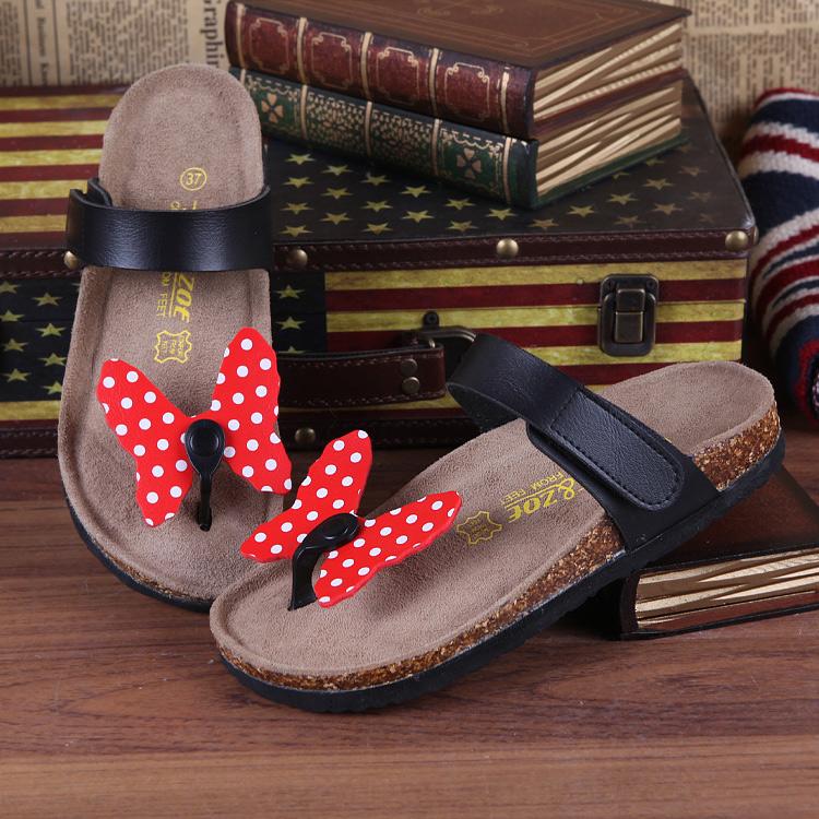 2015 polka dot MINNIE velcro summer cork slippers girls flat heel sandals(China (Mainland))