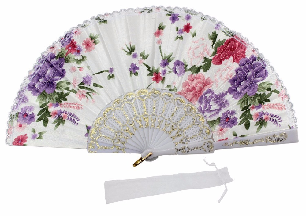 White Plastic Fabric Folding Fan with Luxury Flowers(China (Mainland))
