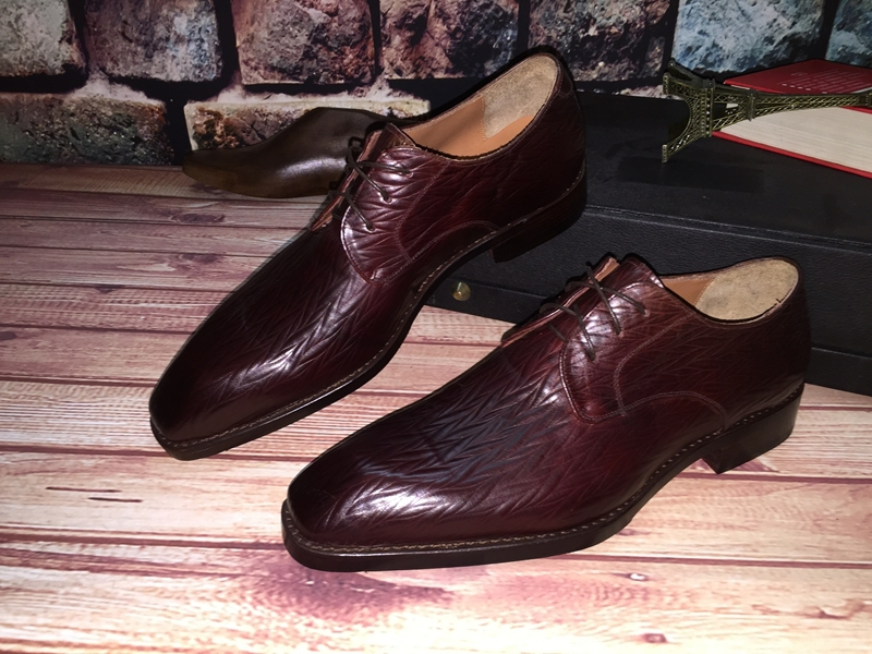Famous Brand Goodyear craft Genuine leather Handmade Mens shoes Business Wedding Derby shoe(China (Mainland))