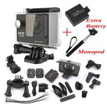 Two Batteries + Monopod Gopro Hero 4 Style Full HD DVR Action Camera W9 wifi 1080P  Waterproof 30M 2.0inch Screen 170 Wide Angle