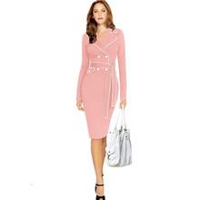 Autumn/winter turn-down collar full sleeve vestidos de inverno,sexy package hip knee length office pencil dress,robe 6XL TT1666