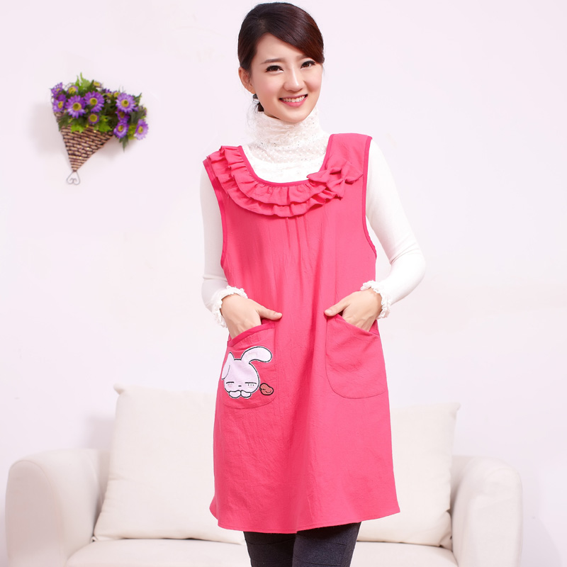 Seven of the original lotus cute cartoon rabbit pattern Home Furnishing apron 30037 Korean lady cotton sleeveless apron(China (Mainland))