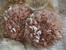 Chiffon rosette wedding table chair sash