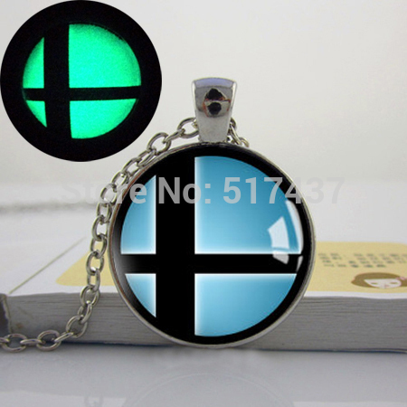 Glowing Jewelry, Handmade Super Smash Bros Smash Ball Pendant Necklace. art photo glow in the dark necklace(China (Mainland))
