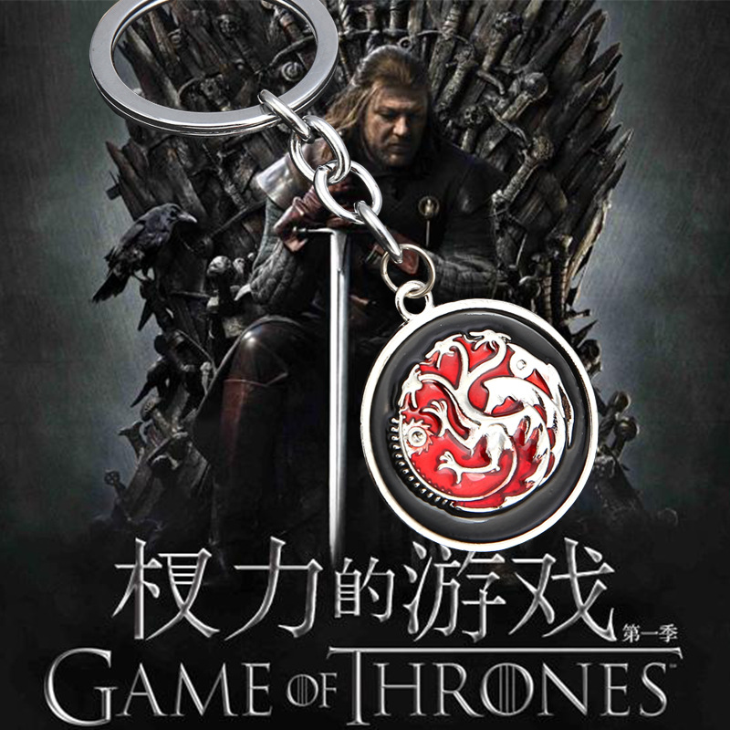 Aliexpress Shipping Game of Thrones House Targaryen Key Chian Key Holder, Fire and Blood Dragon Game of throne Vintage Jewelry(China (Mainland))