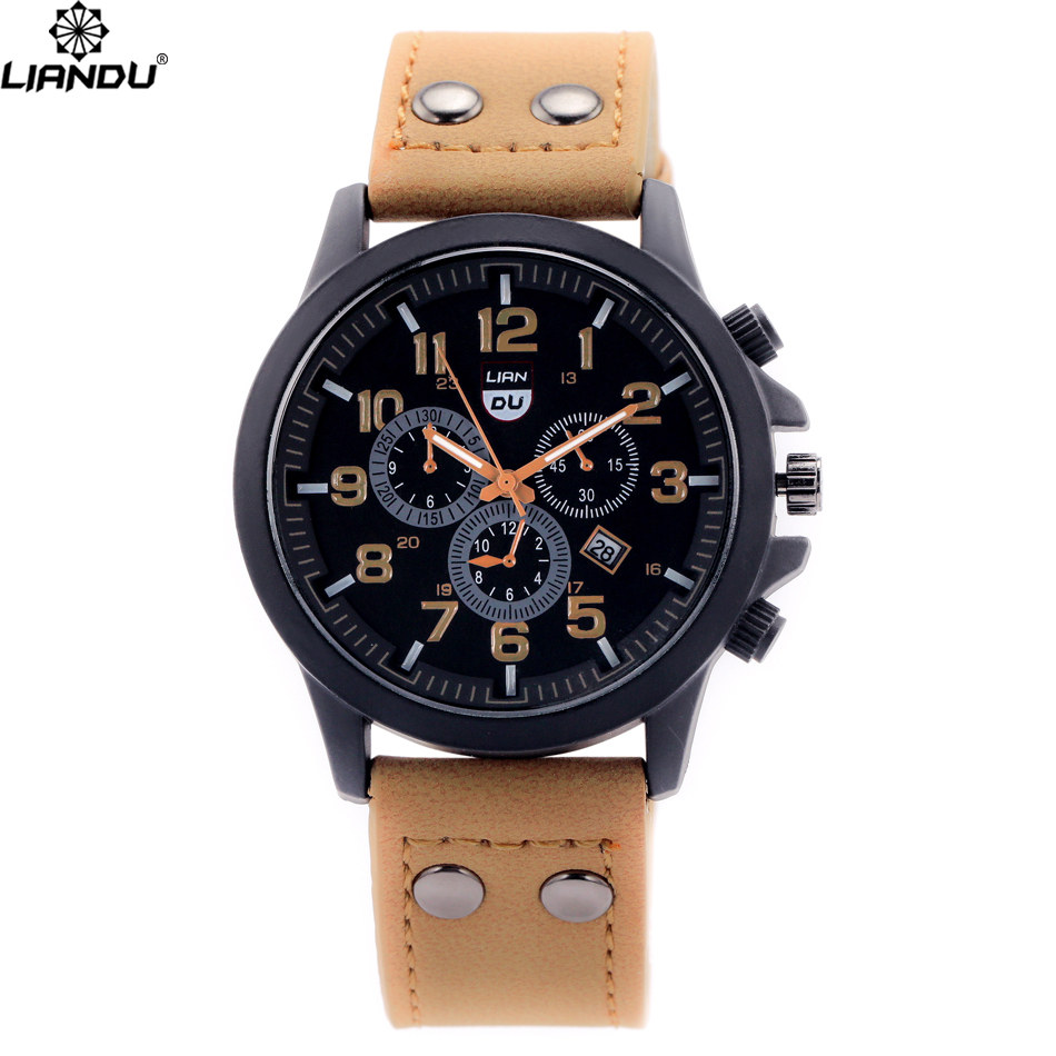 Buy liandu brand cheap sport watch men casual brown leather strap watch fashion for Cheap watches