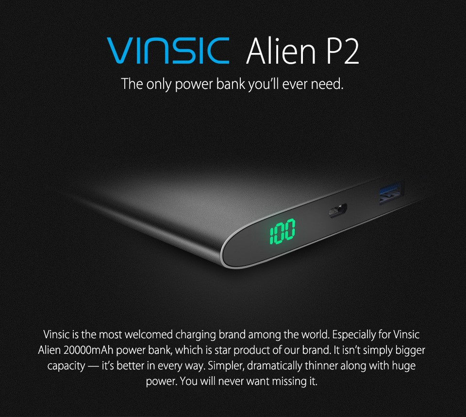 Vinsic Alien P2 20000mAh Power Bank Ultra Slim Dual 2.4A  External Battery Portable Charger for iPhone,Samsung & More 4 Colors