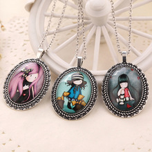 1pc charm cartoon womens vintage silver tone oval resin jane is a english girl pendant necklace