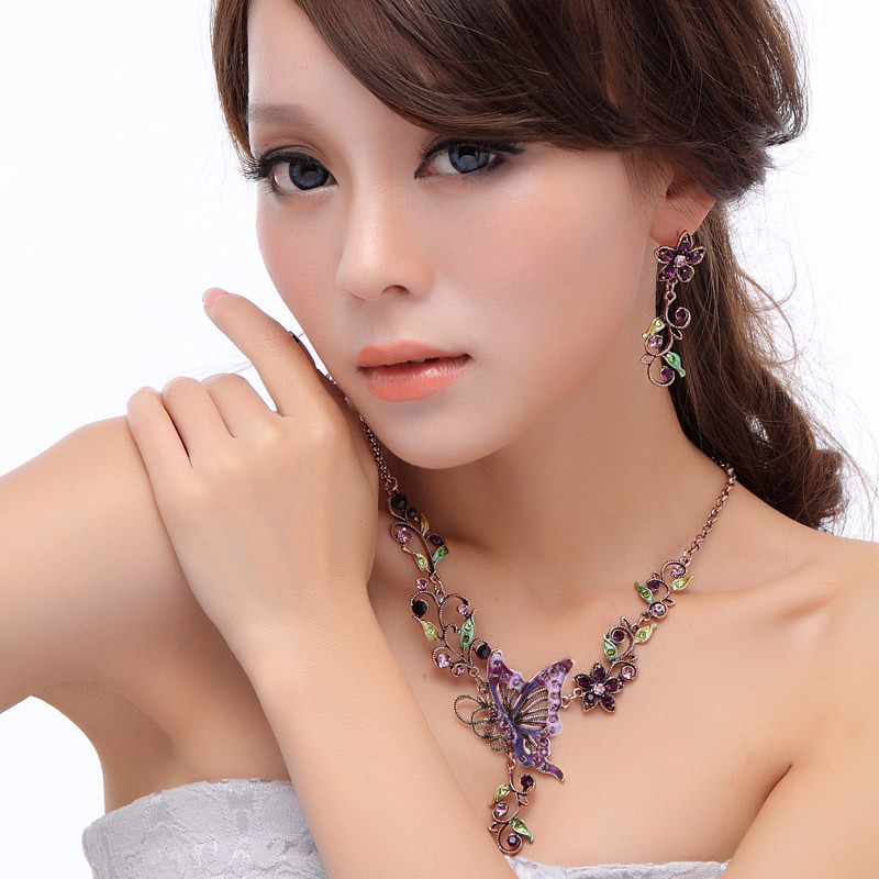 Special Sets Free Shipping Vogue Designe Handmade Classic Vintage Party Gift Jewelry Necklace Earrings Enamel Butterfly TZN1A03