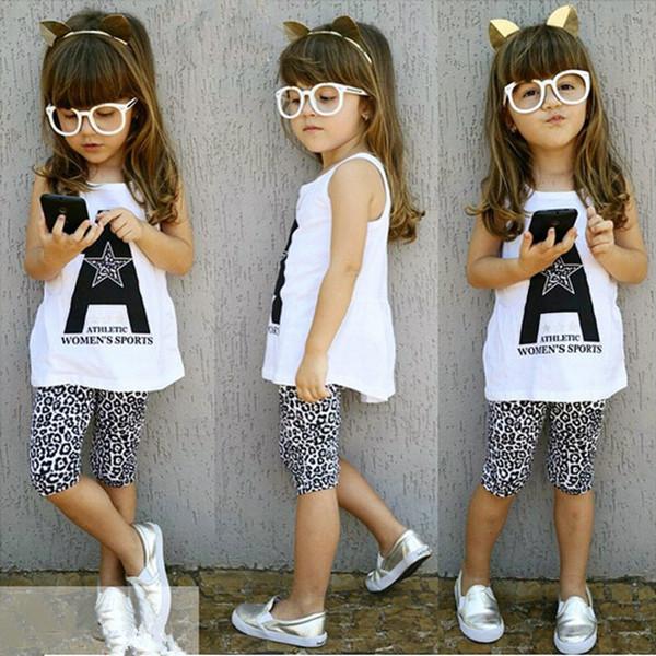 2015 spring summer fashion sport kids clothes sets cartoon T shirt leopard children pants girls clothing