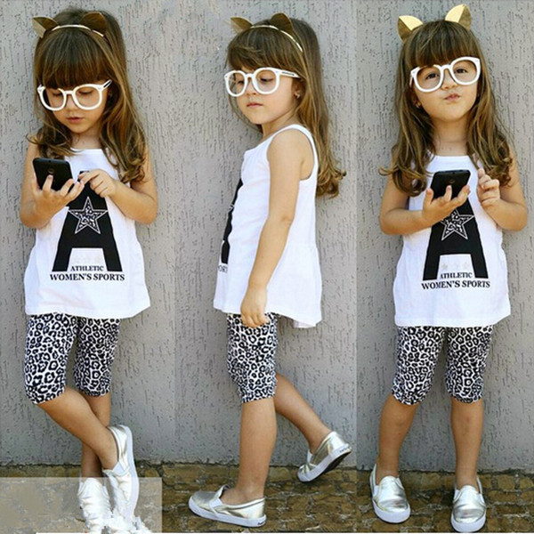 2016 spring summer fashion sport kids clothes sets cartoon T-shirt + leopard children pants girls clothing - Baby Fashion Dict. store