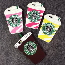 Hot Sale 3D Cartoon Silicon Starbuck Coffee Cup Case Cover for Samsung Galaxy S3 S4 S5 S6 G530H 9200 Mobile Phones Free shipping