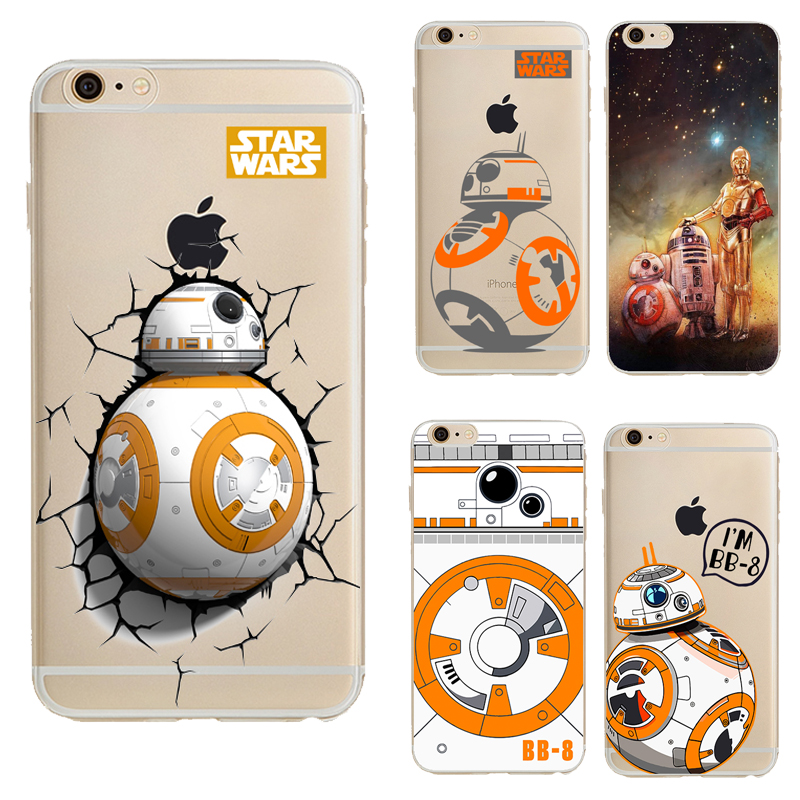 Wars The Force Awakens BB-8 Droid Robot Soft Tpu Back Cover Phone Case For Apple Iphone 6 6s 6 Plus Cartoon Silicone Coque(China (Mainland))