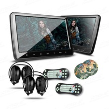 "2*10.1"" Touch Button Car Headrest DVD Player HD Screen 1024*600 HDMI Game DVD USB SD IR transmitter Portable headrest monitor(China (Mainland))"
